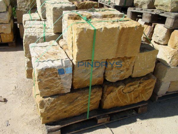 Sandstein Mauersteine 40x40x80 cm gelber Sandsteinmauer aus Polen, Sandsteinquader